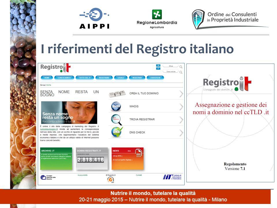 Nutrire il mondo, tutelare la qualità 20-21 maggio 2015 – Nutrire il mondo, tutelare la qualità - Milano I riferimenti del Registro italiano