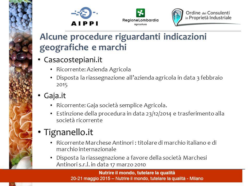 Nutrire il mondo, tutelare la qualità 20-21 maggio 2015 – Nutrire il mondo, tutelare la qualità - Milano Casacostepiani.it Ricorrente: Azienda Agricol