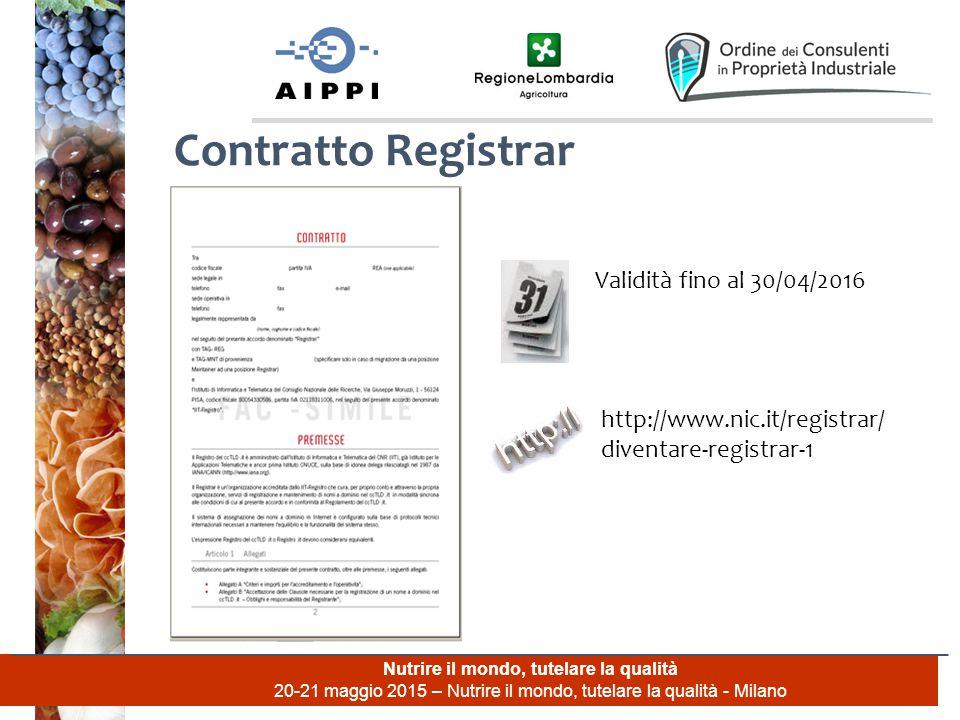 Nutrire il mondo, tutelare la qualità 20-21 maggio 2015 – Nutrire il mondo, tutelare la qualità - Milano Contratto Registrar Validità fino al 30/04/2016 http://www.nic.it/registrar/ diventare-registrar-1