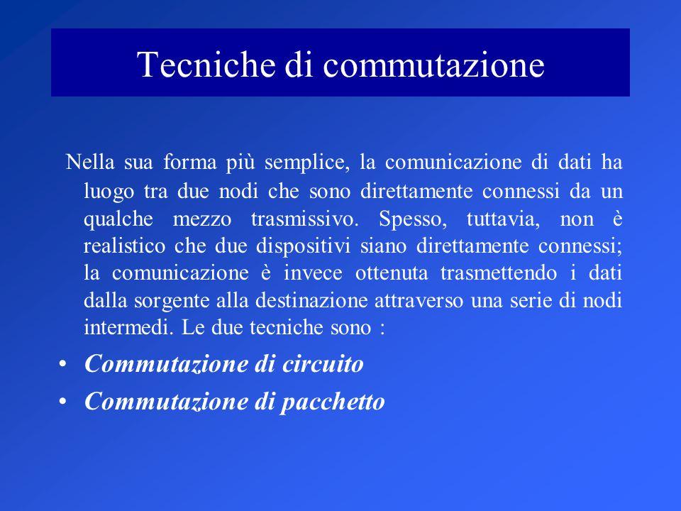 Tecniche di commutazione Nella sua forma più semplice, la comunicazione di dati ha luogo tra due nodi che sono direttamente connessi da un qualche mezzo trasmissivo.