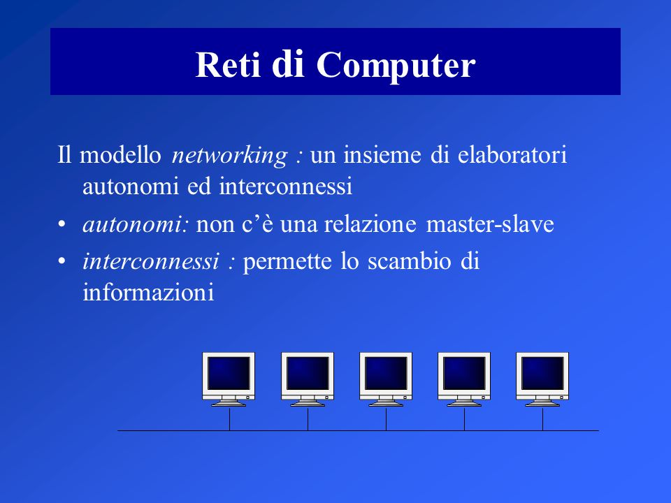 Reti di Computer Il modello networking : un insieme di elaboratori autonomi ed interconnessi autonomi: non c'è una relazione master-slave interconnessi : permette lo scambio di informazioni