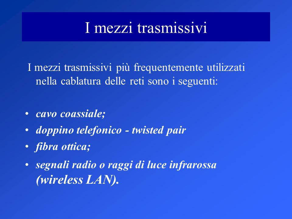 I mezzi trasmissivi I mezzi trasmissivi più frequentemente utilizzati nella cablatura delle reti sono i seguenti: cavo coassiale; doppino telefonico - twisted pair fibra ottica; segnali radio o raggi di luce infrarossa (wireless LAN).