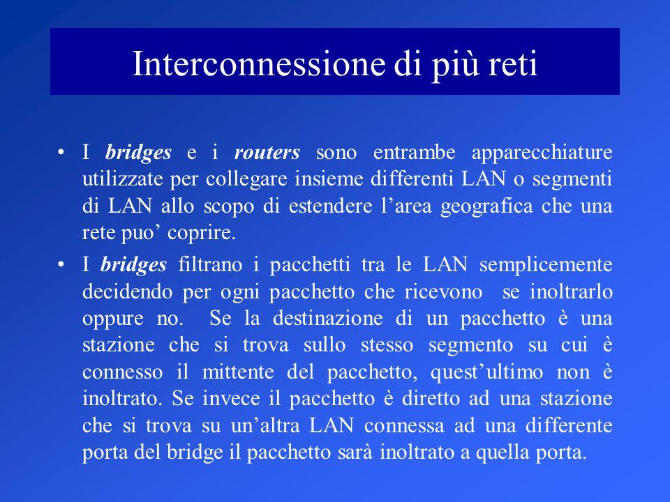 Interconnessione di più reti I bridges e i routers sono entrambe apparecchiature utilizzate per collegare insieme differenti LAN o segmenti di LAN allo scopo di estendere l'area geografica che una rete puo' coprire.