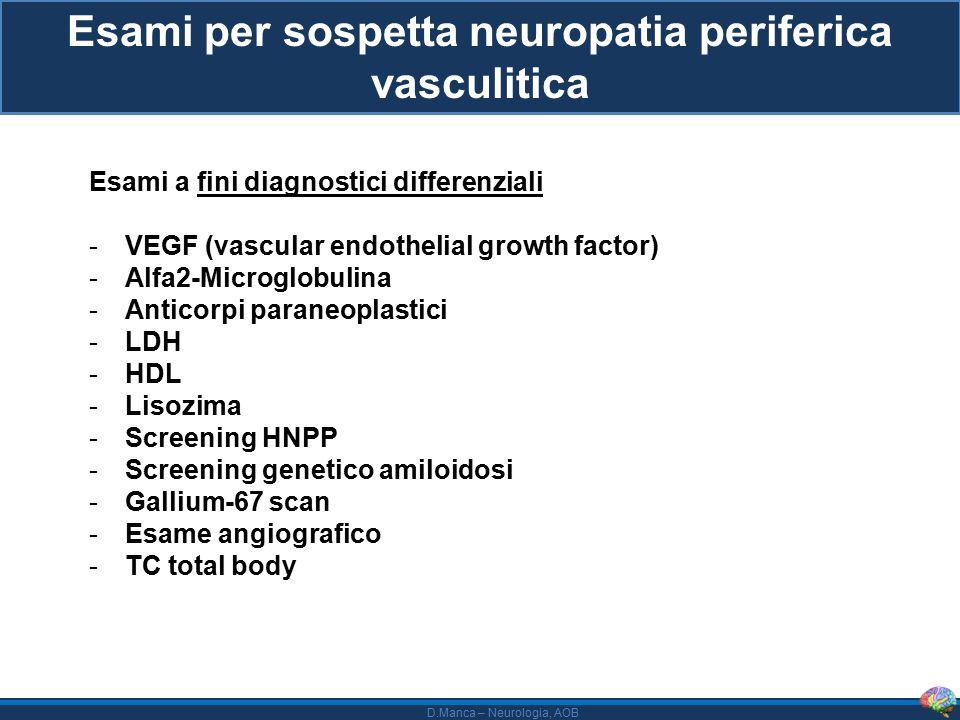 D.Manca – Neurologia, AOB Esami per sospetta neuropatia periferica vasculitica Esami a fini diagnostici differenziali -VEGF (vascular endothelial growth factor) -Alfa2-Microglobulina -Anticorpi paraneoplastici -LDH -HDL -Lisozima -Screening HNPP -Screening genetico amiloidosi -Gallium-67 scan -Esame angiografico -TC total body