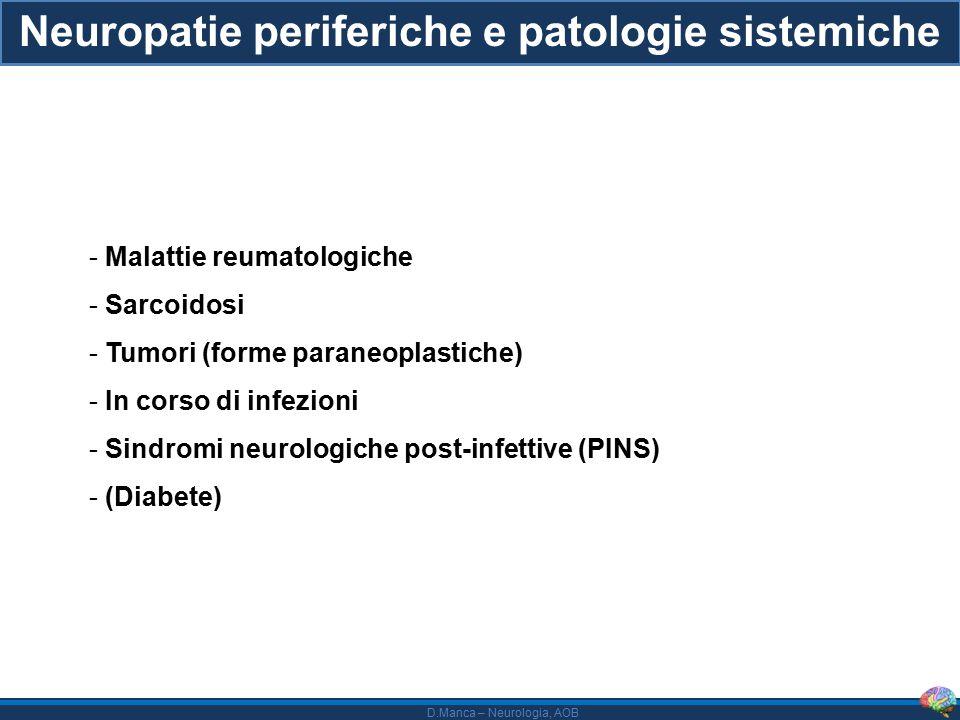 D.Manca – Neurologia, AOB Sindrome di Sjogren - Stime di frequenza di neuropatia periferica molto variabili (dal 2 al 64 %) - Diagnosi in genere clinica (sicca complex) e di laboratorio (biopsia ghiandolare, ANA, anti-SSA/anti- SSB - Neuropatia trigeminale, polineuropatia distale sensitivo-motoria simmetrica, neuropatia sensitiva pura (fibre di piccolo o anche di grosso calibro), neuropatie delle piccole fibre, forme autonomiche - Forme vasculitche (multinevrite) probabilmente attorno al 15 % dei casi - Le forme infiammatorie sensitive pure con sicca complex più frequentemente sono sieronegative (ca.