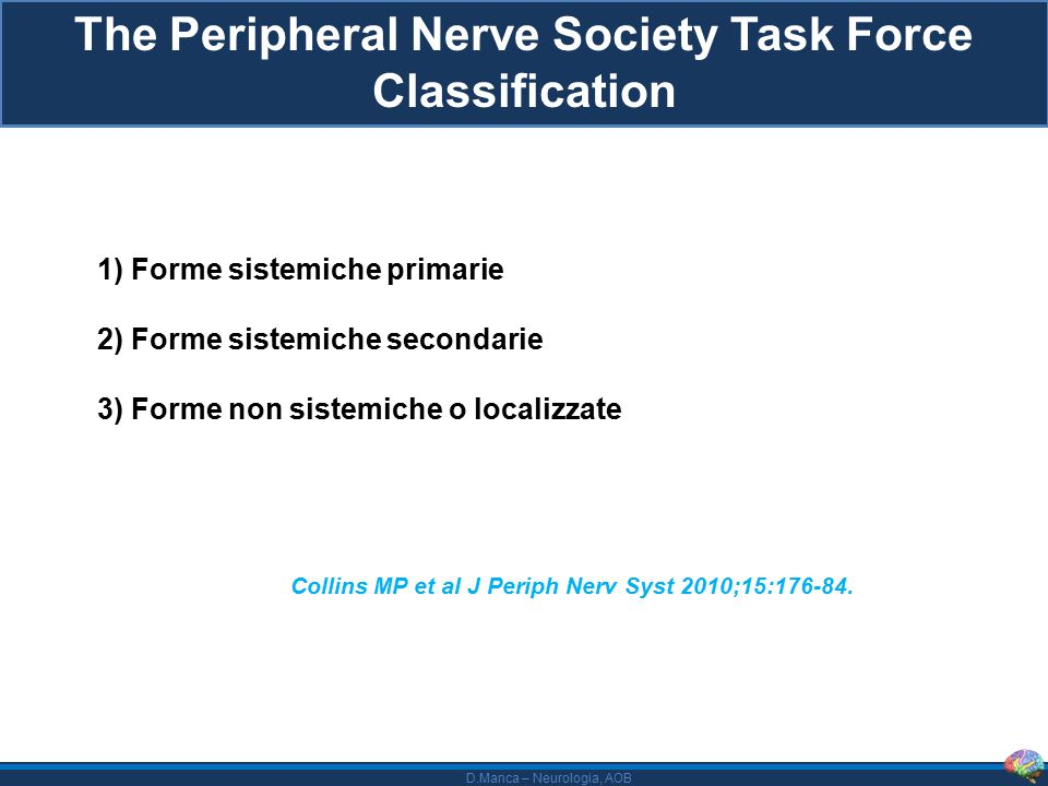 D.Manca – Neurologia, AOB The Peripheral Nerve Society Task Force Classification 1) Forme sistemiche primarie 2) Forme sistemiche secondarie 3) Forme