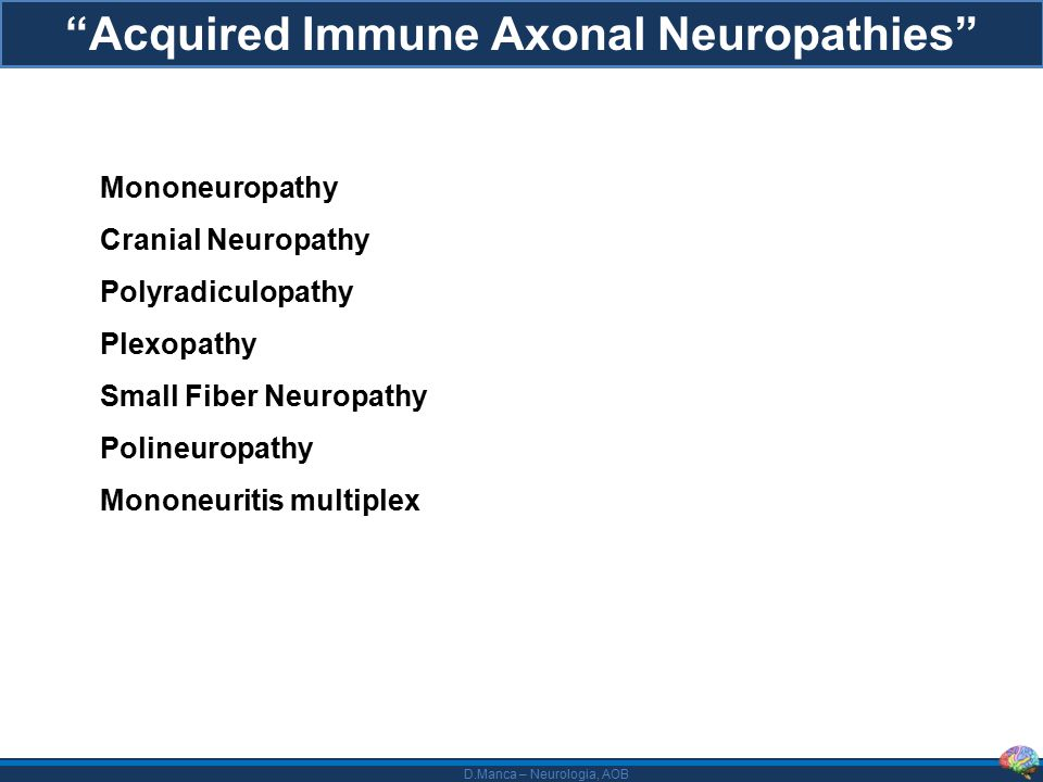 "D.Manca – Neurologia, AOB ""Acquired Immune Axonal Neuropathies"" Mononeuropathy Cranial Neuropathy Polyradiculopathy Plexopathy Small Fiber Neuropathy"