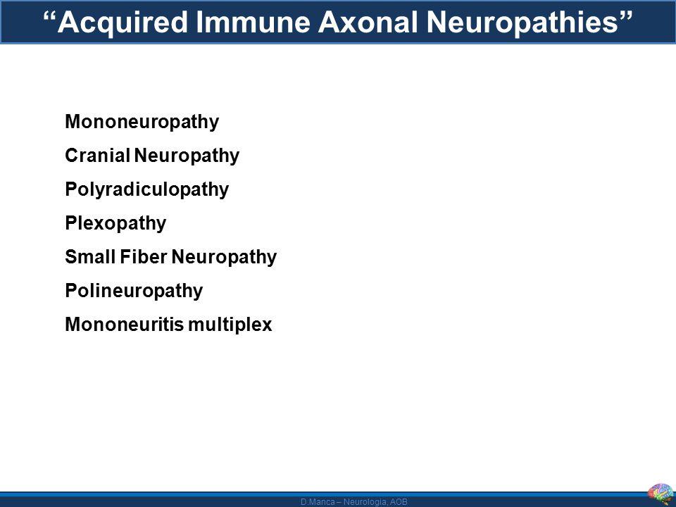 D.Manca – Neurologia, AOB Rilevanza della diagnosi - Nessun effetto della terapia con Ig ev - Necessità di elevato livello di immunosoppressione