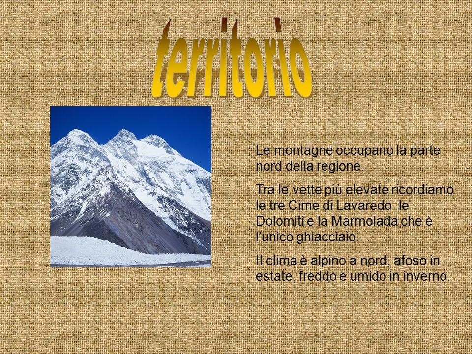 Le montagne occupano la parte nord della regione. Tra le vette più elevate ricordiamo le tre Cime di Lavaredo le Dolomiti e la Marmolada che è l'unico