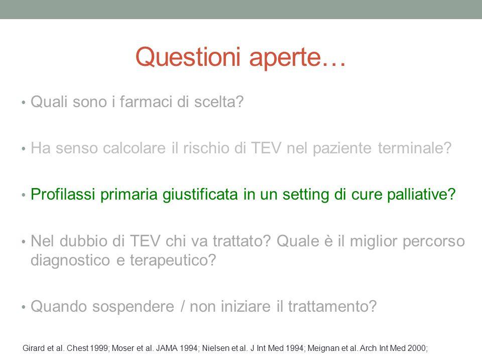 Questioni aperte… Quali sono i farmaci di scelta? Ha senso calcolare il rischio di TEV nel paziente terminale? Profilassi primaria giustificata in un