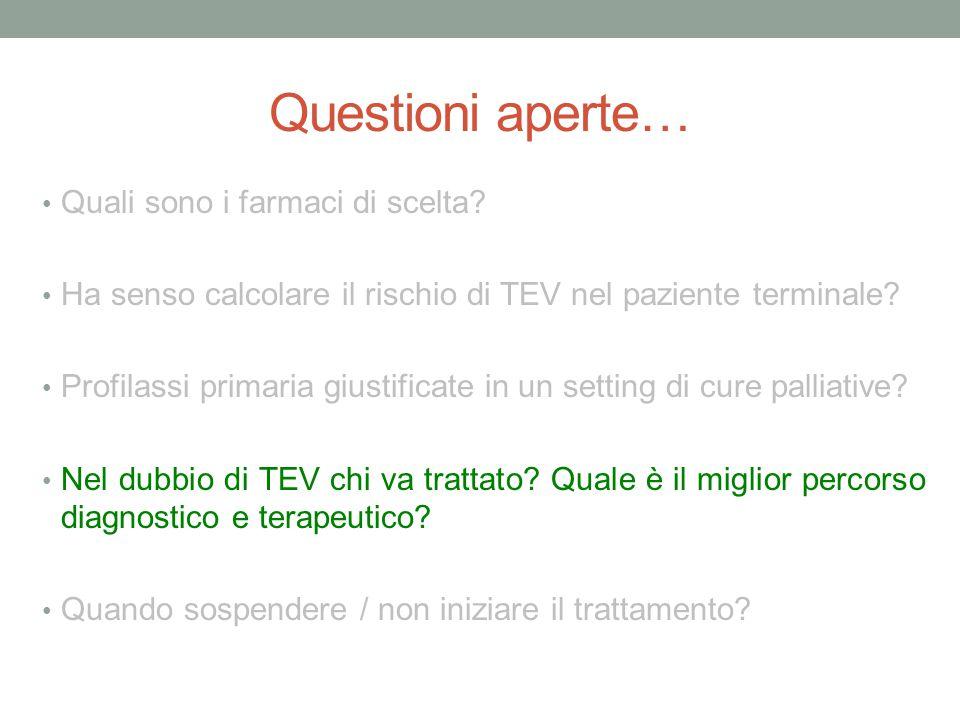Questioni aperte… Quali sono i farmaci di scelta? Ha senso calcolare il rischio di TEV nel paziente terminale? Profilassi primaria giustificate in un