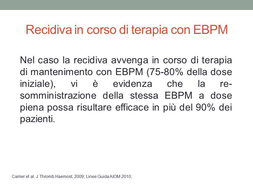 Recidiva in corso di terapia con EBPM Nel caso la recidiva avvenga in corso di terapia di mantenimento con EBPM (75-80% della dose iniziale), vi è evi