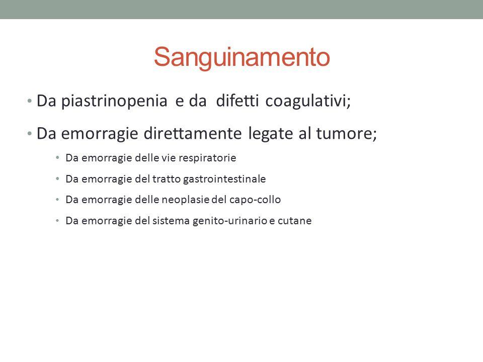 Sanguinamento Da piastrinopenia e da difetti coagulativi; Da emorragie direttamente legate al tumore; Da emorragie delle vie respiratorie Da emorragie