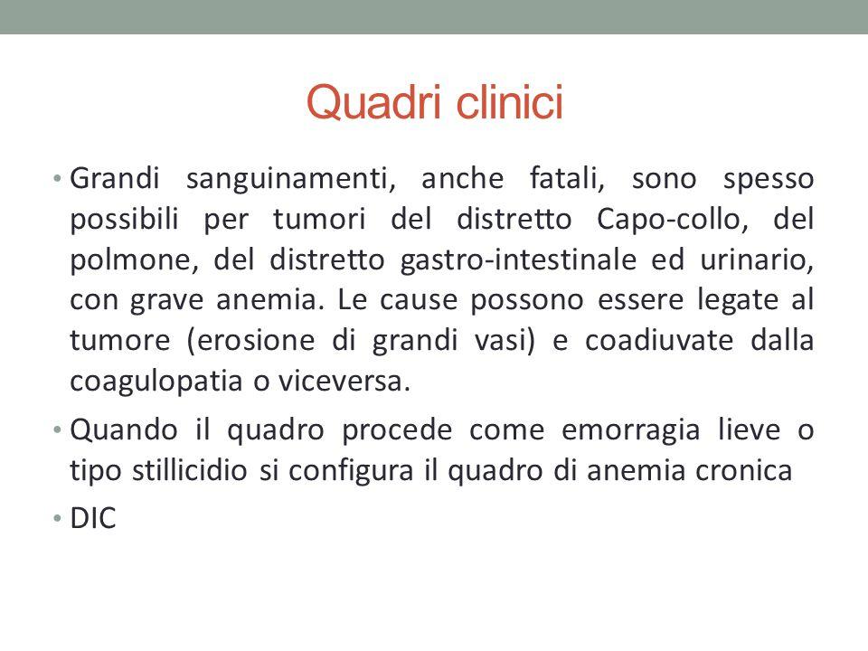 Quadri clinici Grandi sanguinamenti, anche fatali, sono spesso possibili per tumori del distretto Capo-collo, del polmone, del distretto gastro-intest