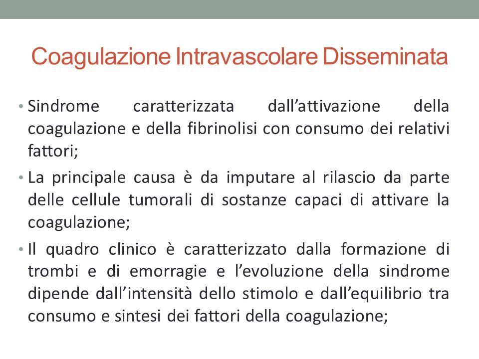 Coagulazione Intravascolare Disseminata Sindrome caratterizzata dall'attivazione della coagulazione e della fibrinolisi con consumo dei relativi fatto