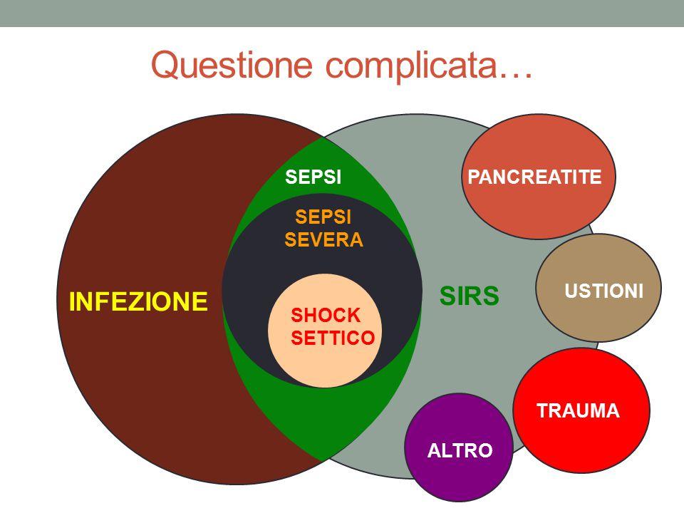SIRS INFEZIONE PANCREATITE USTIONI TRAUMA ALTRO SEPSI SEVERA SHOCK SETTICO Questione complicata…