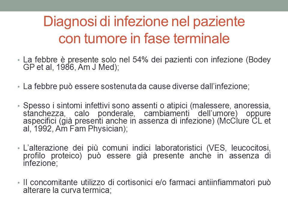 Diagnosi di infezione nel paziente con tumore in fase terminale La febbre è presente solo nel 54% dei pazienti con infezione (Bodey GP et al, 1986, Am