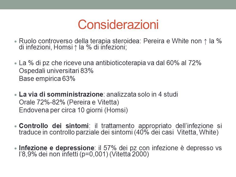 Considerazioni  Ruolo controverso della terapia steroidea: Pereira e White non ↑ la % di infezioni, Homsi ↑ la % di infezioni;  La % di pz che ricev