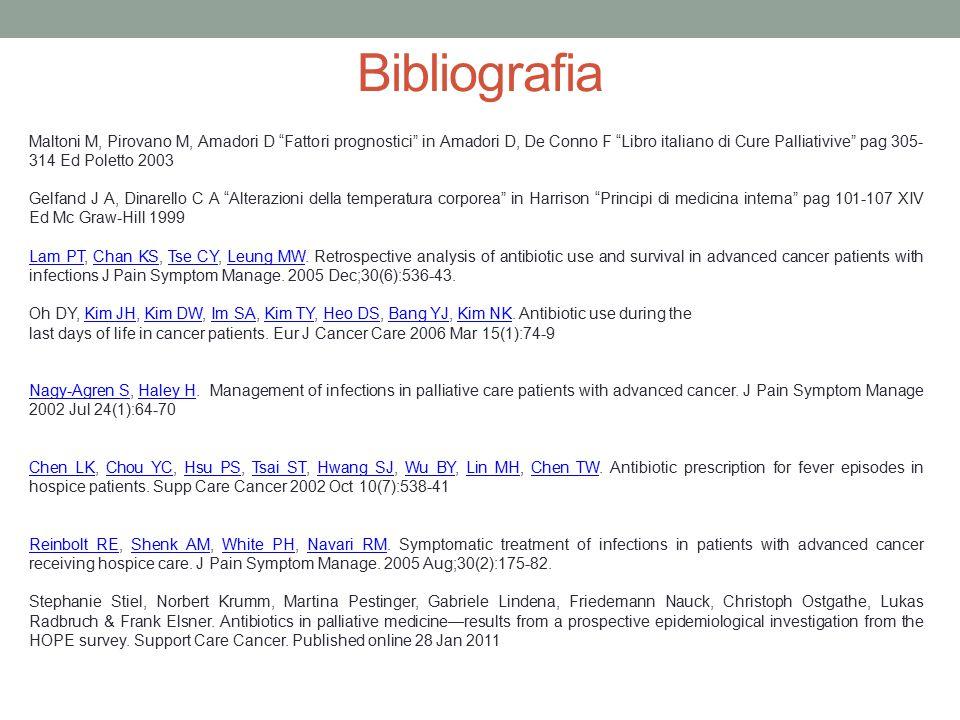 """Bibliografia Maltoni M, Pirovano M, Amadori D """"Fattori prognostici"""" in Amadori D, De Conno F """"Libro italiano di Cure Palliativive"""" pag 305- 314 Ed Pol"""