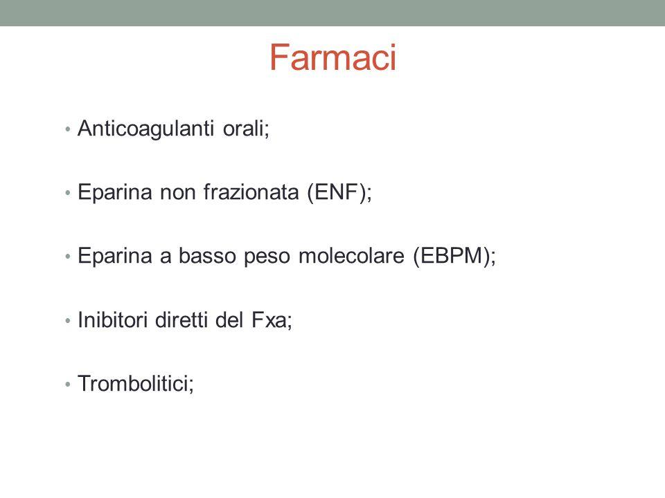 Farmaci Anticoagulanti orali; Eparina non frazionata (ENF); Eparina a basso peso molecolare (EBPM); Inibitori diretti del Fxa; Trombolitici;