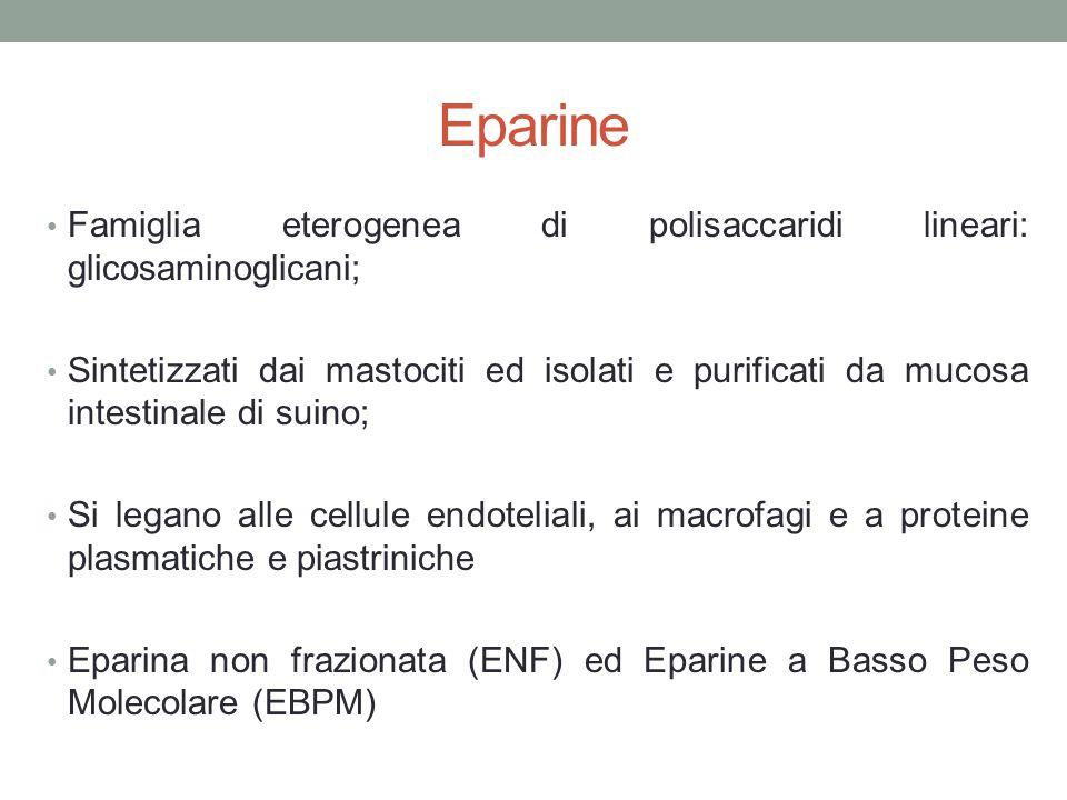 Eparine Famiglia eterogenea di polisaccaridi lineari: glicosaminoglicani; Sintetizzati dai mastociti ed isolati e purificati da mucosa intestinale di