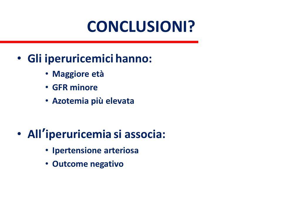 CONCLUSIONI? Gli iperuricemici hanno: Maggiore età GFR minore Azotemia più elevata All'iperuricemia si associa: Ipertensione arteriosa Outcome negativ