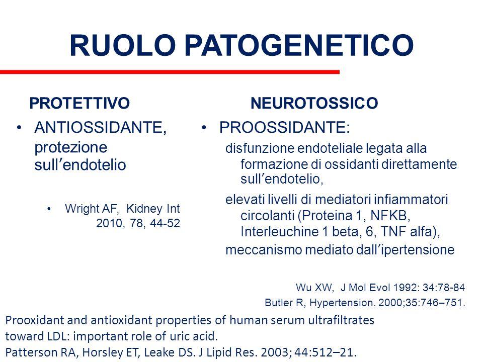 RUOLO PATOGENETICO PROTETTIVO ANTIOSSIDANTE, protezione sull'endotelio Wright AF, Kidney Int 2010, 78, 44-52 NEUROTOSSICO PROOSSIDANTE: disfunzione en