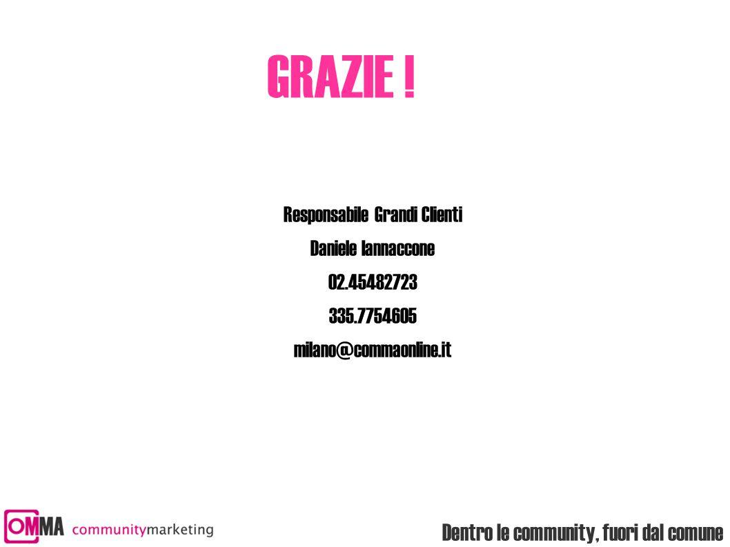 Dentro le community, fuori dal comune GRAZIE ! Responsabile Grandi Clienti Daniele Iannaccone 02.45482723 335.7754605 milano@commaonline.it