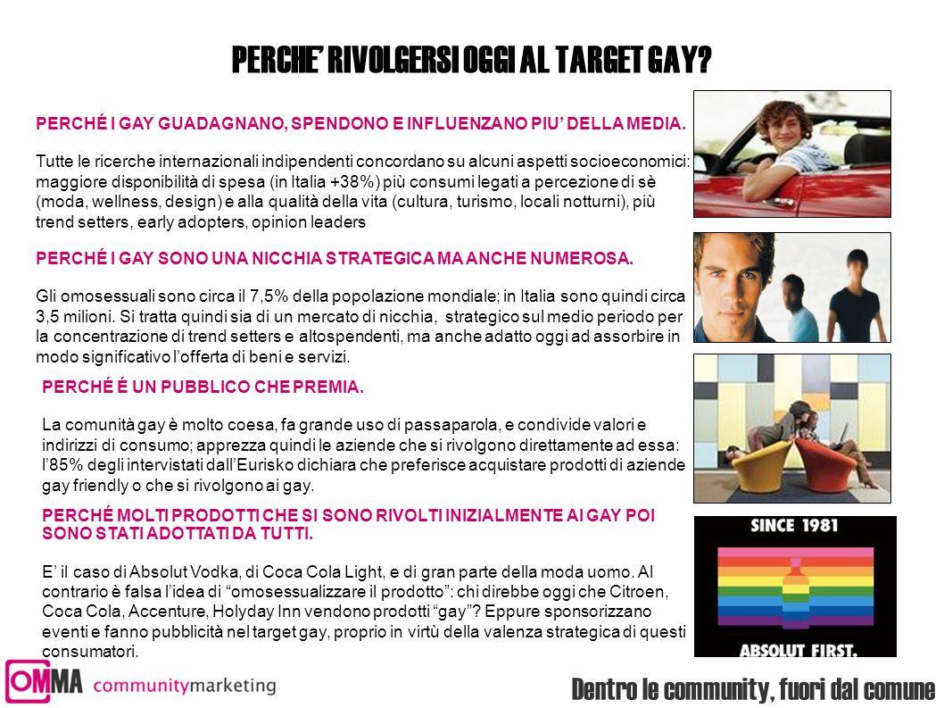 Dentro le community, fuori dal comune PERCHE' RIVOLGERSI OGGI AL TARGET GAY? PERCHÉ I GAY GUADAGNANO, SPENDONO E INFLUENZANO PIU' DELLA MEDIA. Tutte l