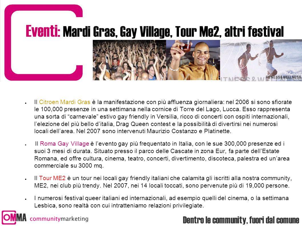 Dentro le community, fuori dal comune Eventi: Mardi Gras, Gay Village, Tour Me2, altri festival ● Il Citroen Mardi Gras è la manifestazione con più af