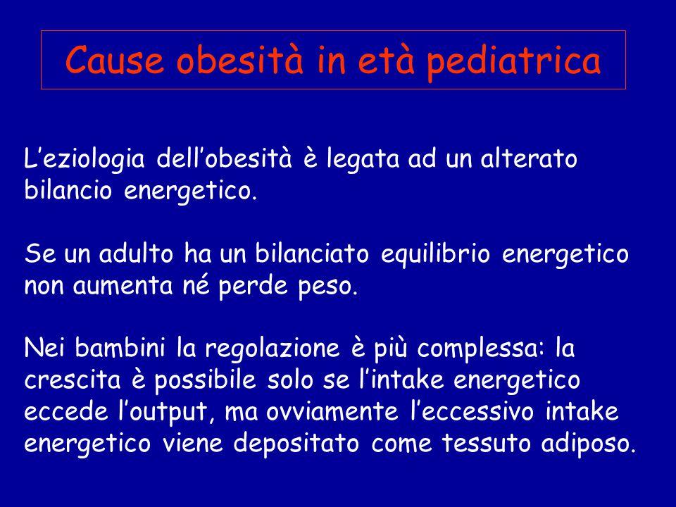 Cause obesità in età pediatrica L'eziologia dell'obesità è legata ad un alterato bilancio energetico.
