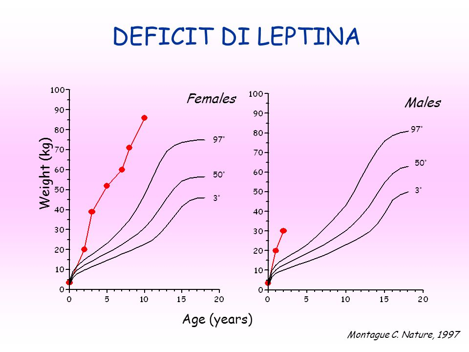 Age (years)  Weight (kg)  3° 50° 97° 50° 97° DEFICIT DI LEPTINA Males Females Montague C.