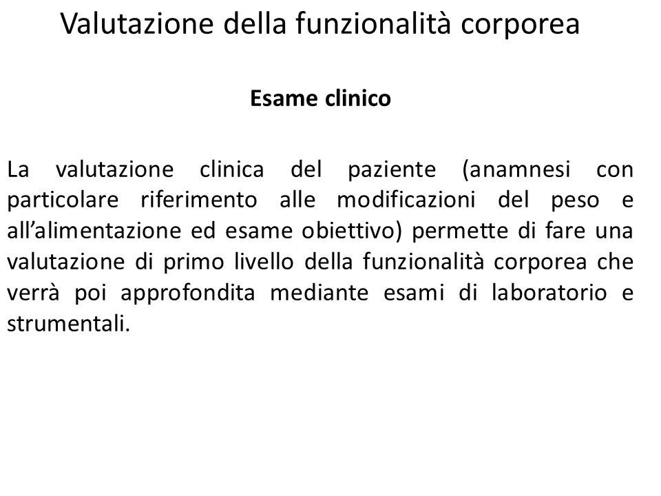 Valutazione della funzionalità corporea Esame clinico La valutazione clinica del paziente (anamnesi con particolare riferimento alle modificazioni del