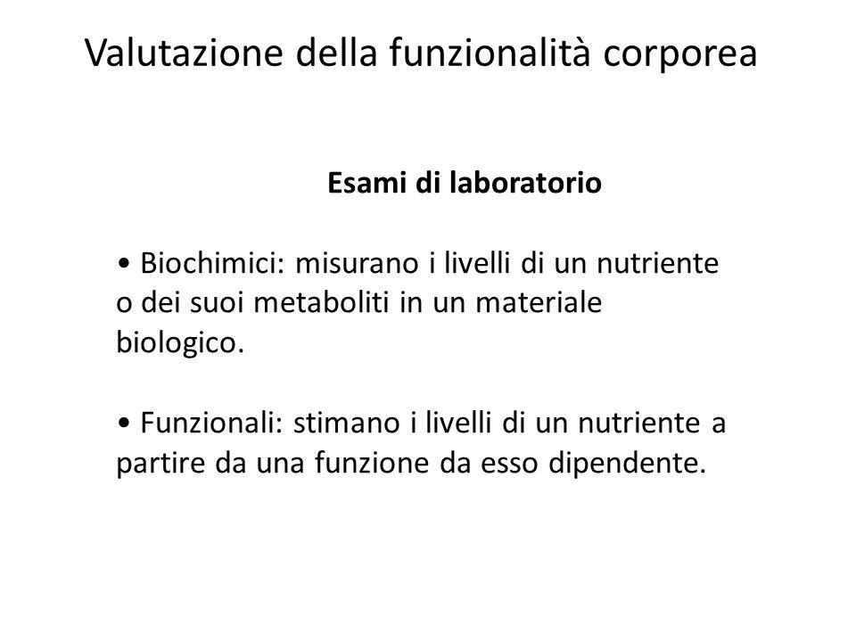 Esami di laboratorio Biochimici: misurano i livelli di un nutriente o dei suoi metaboliti in un materiale biologico. Funzionali: stimano i livelli di