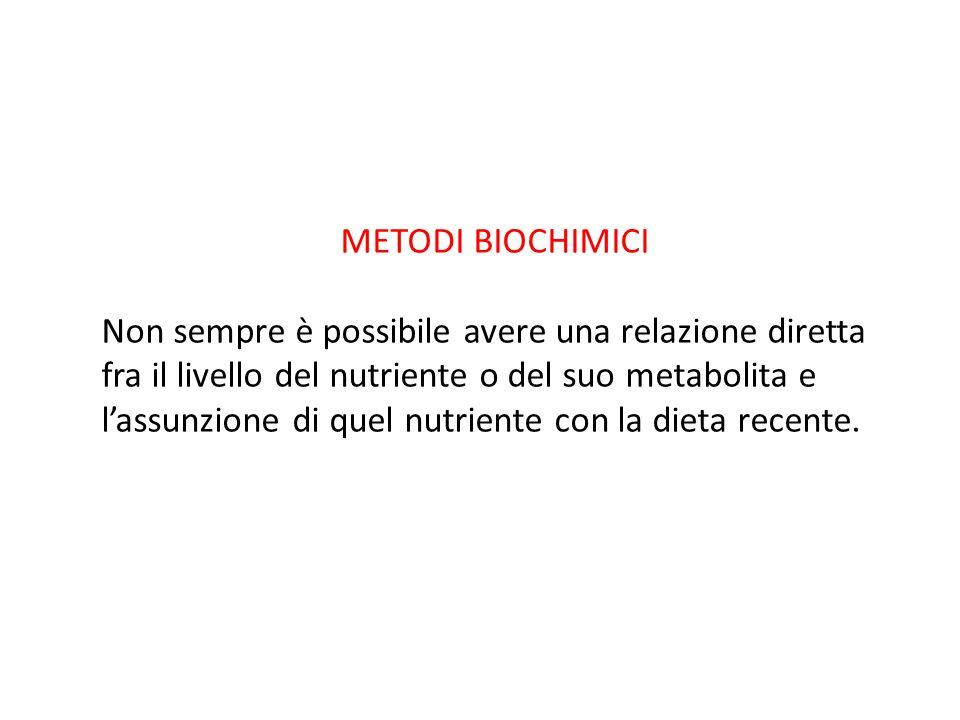 METODI BIOCHIMICI Non sempre è possibile avere una relazione diretta fra il livello del nutriente o del suo metabolita e l'assunzione di quel nutrient