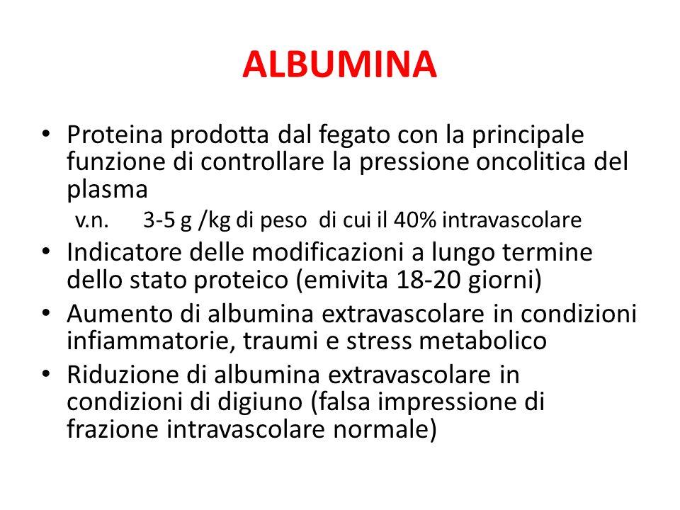 ALBUMINA Proteina prodotta dal fegato con la principale funzione di controllare la pressione oncolitica del plasma v.n. 3-5 g /kg di peso di cui il 40