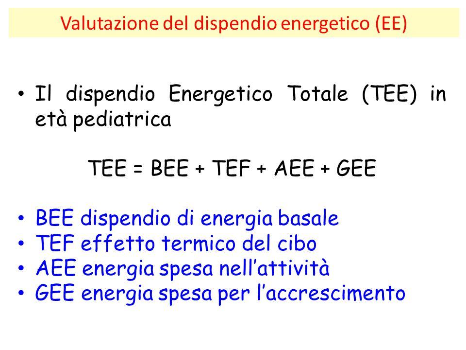 Valutazione del dispendio energetico (EE) Il dispendio Energetico Totale (TEE) in età pediatrica TEE = BEE + TEF + AEE + GEE BEE dispendio di energia