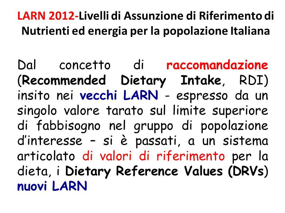 Dal concetto di raccomandazione (Recommended Dietary Intake, RDI) insito nei vecchi LARN - espresso da un singolo valore tarato sul limite superiore d