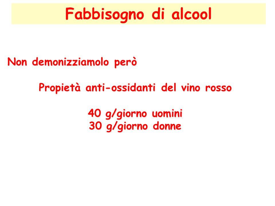 Fabbisogno di alcool Non demonizziamolo però Propietà anti-ossidanti del vino rosso 40 g/giorno uomini 30 g/giorno donne