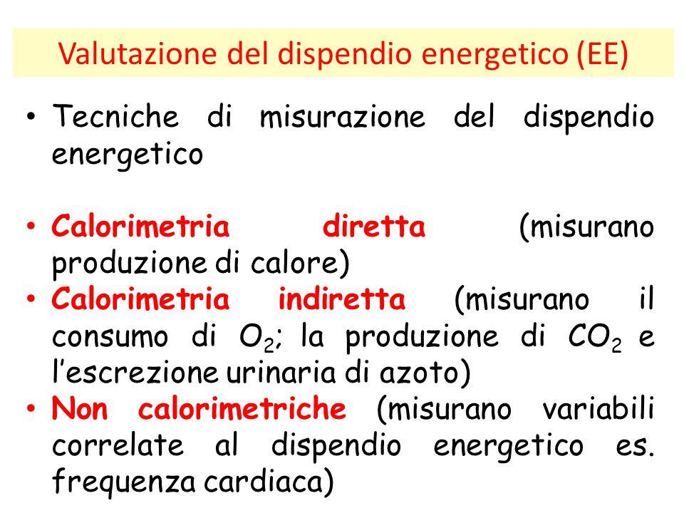 Valutazione del dispendio energetico (EE) Tecniche di misurazione del dispendio energetico Calorimetria diretta (misurano produzione di calore) Calori