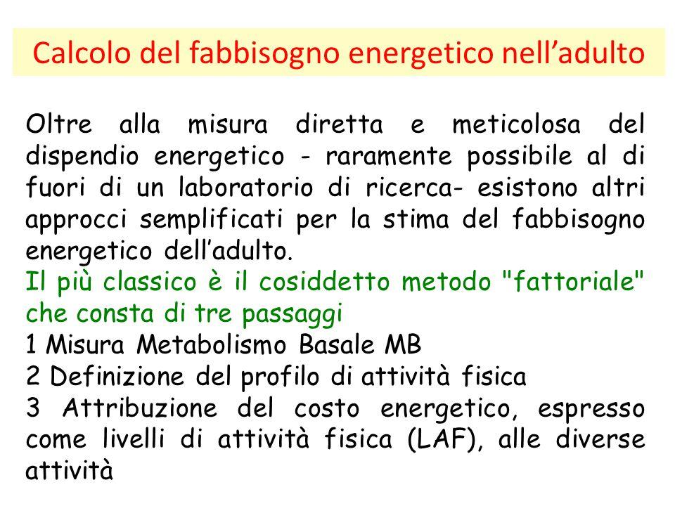 Calcolo del fabbisogno energetico nell'adulto Oltre alla misura diretta e meticolosa del dispendio energetico - raramente possibile al di fuori di un