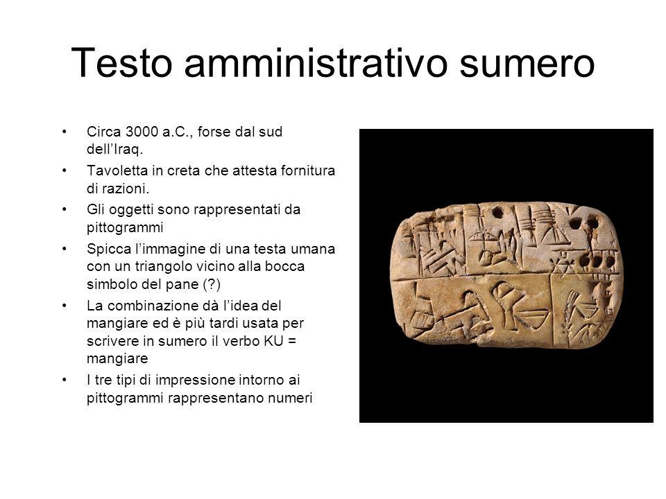 Testo amministrativo sumero Circa 3000 a.C., forse dal sud dell'Iraq. Tavoletta in creta che attesta fornitura di razioni. Gli oggetti sono rappresent