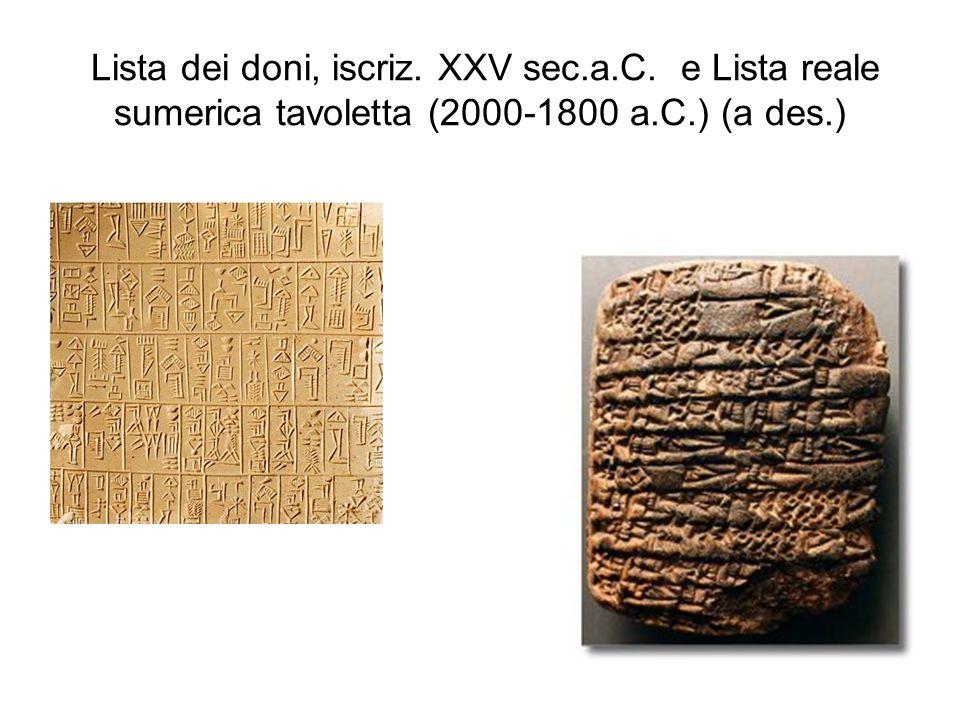 Lista dei doni, iscriz. XXV sec.a.C. e Lista reale sumerica tavoletta (2000-1800 a.C.) (a des.)