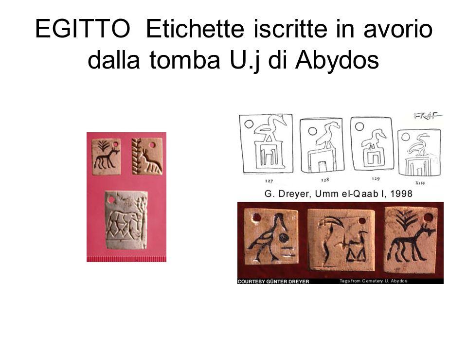 EGITTO Etichette iscritte in avorio dalla tomba U.j di Abydos