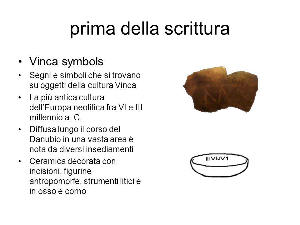 prima della scrittura Vinca symbols Segni e simboli che si trovano su oggetti della cultura Vinca La più antica cultura dell'Europa neolitica fra VI e