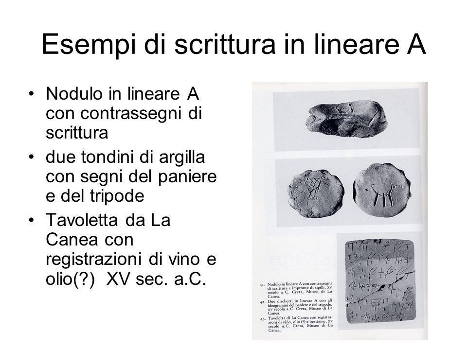 Esempi di scrittura in lineare A Nodulo in lineare A con contrassegni di scrittura due tondini di argilla con segni del paniere e del tripode Tavolett