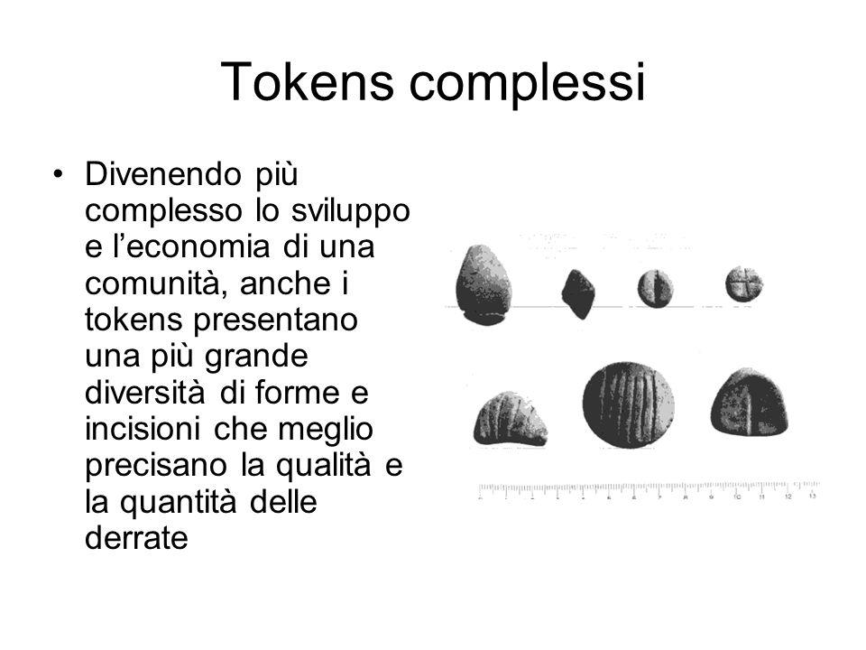 Tokens complessi Divenendo più complesso lo sviluppo e l'economia di una comunità, anche i tokens presentano una più grande diversità di forme e incis