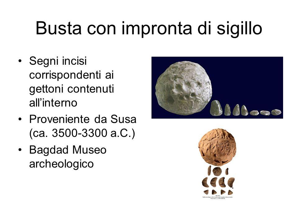 Busta con impronta di sigillo Segni incisi corrispondenti ai gettoni contenuti all'interno Proveniente da Susa (ca. 3500-3300 a.C.) Bagdad Museo arche