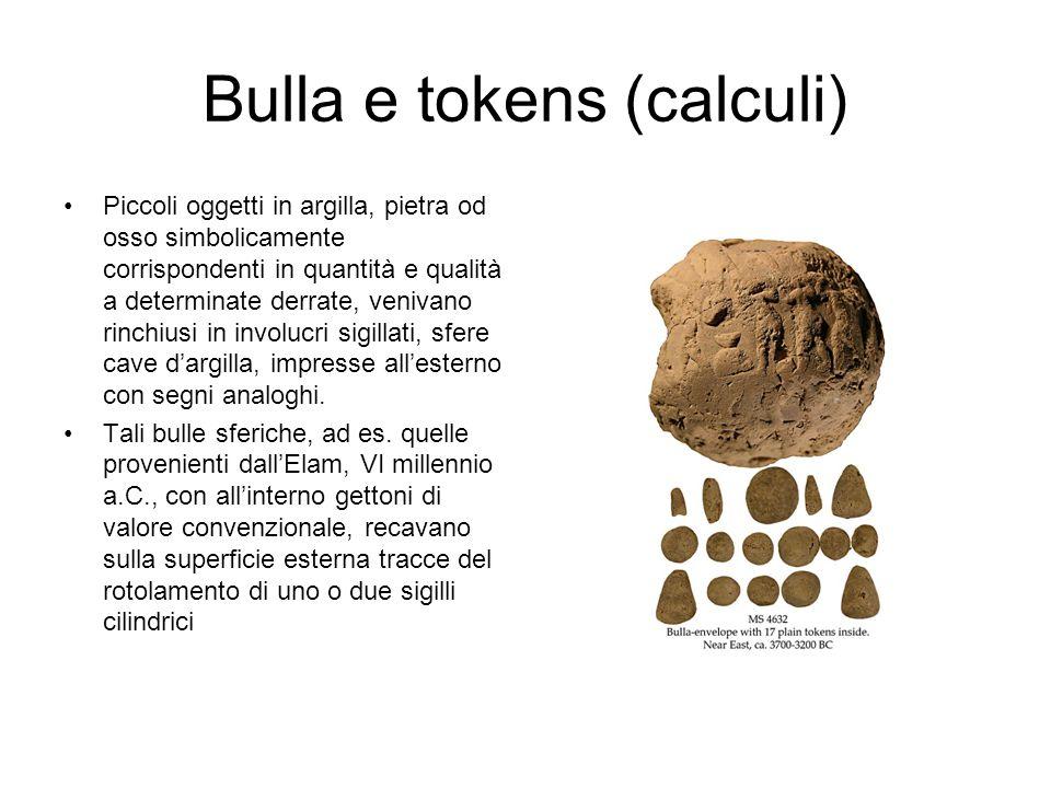Bulla e tokens (calculi) Piccoli oggetti in argilla, pietra od osso simbolicamente corrispondenti in quantità e qualità a determinate derrate, venivan