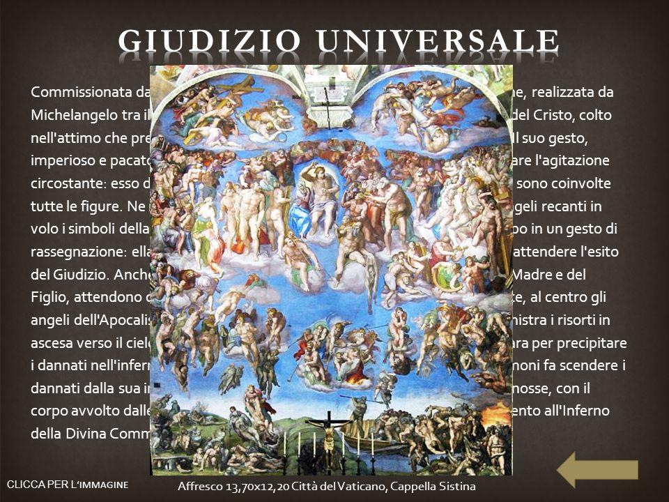 Commissionata da Papa Clemente VII de' Medici, la grandiosa composizione, realizzata da Michelangelo tra il 1536 e il 1541, si incentra intorno alla f